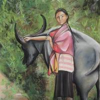 Vietnamese lady and her buffalo