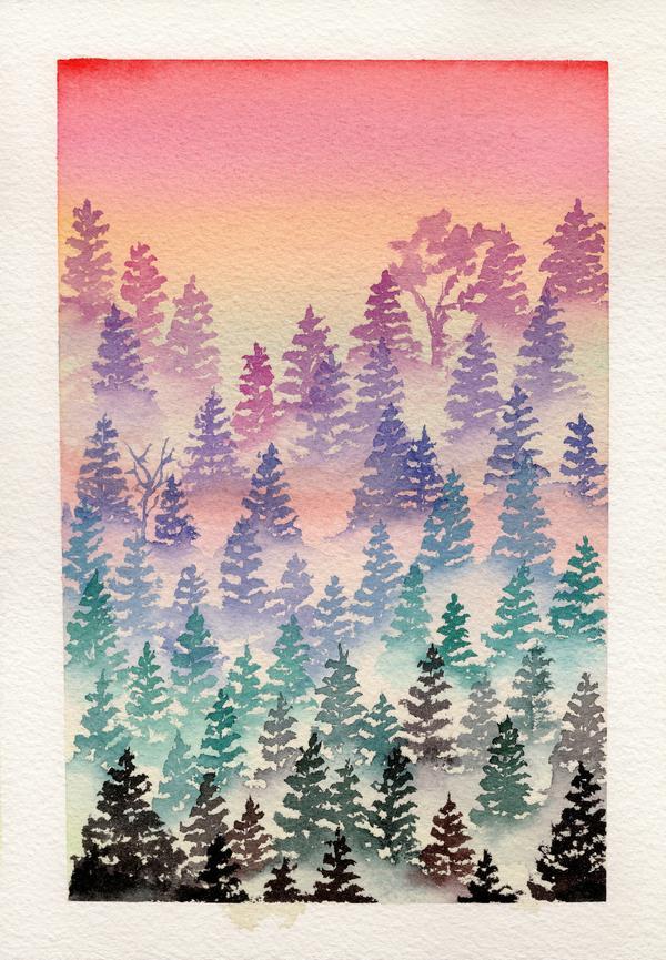 Peinture à l'aquarelle d'une forêt imaginaire 1